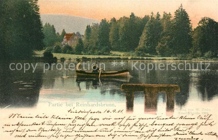 AK / Ansichtskarte Reinhardsbrunn Partie am See Bootfahren Schloss Kat. Friedrichroda