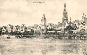 AK / Ansichtskarte Ulm Donau Teilansicht mit Ulmer Muenster Kat. Ulm