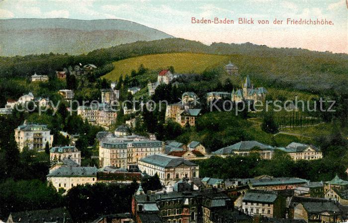 AK / Ansichtskarte Baden Baden Blick von Friedrichshoehe Kat. Baden Baden