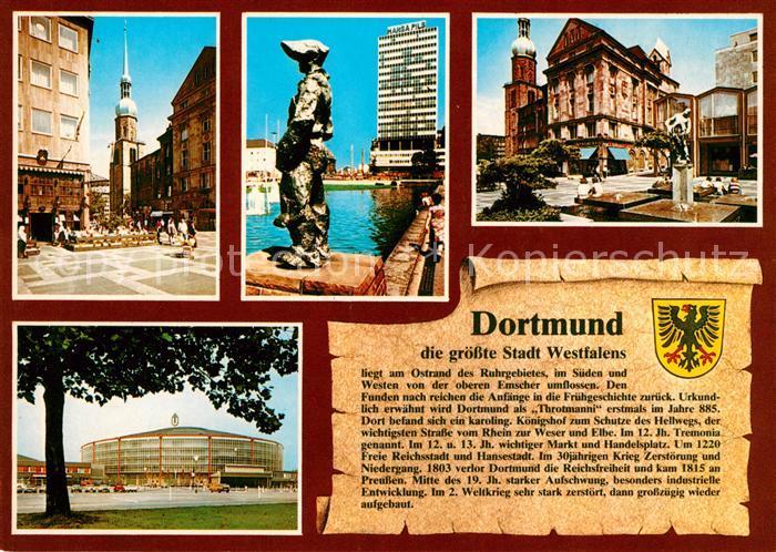 AK / Ansichtskarte Dortmund Markt Reinoldi Kirche Koenigswall Brunnen Markt Westfalenhalle Kat. Dortmund