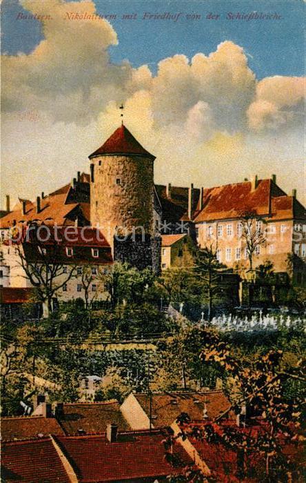AK / Ansichtskarte Bautzen Nikolaiturm mit Friedhof von der Schlossbruecke Kat. Bautzen