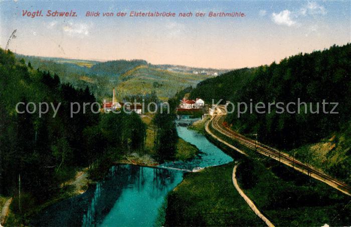 AK / Ansichtskarte Jocketa Blick von der Elstertalbruecke nach der Barthmuehle Vogtlaendische Schweiz Kat. Poehl Vogtland