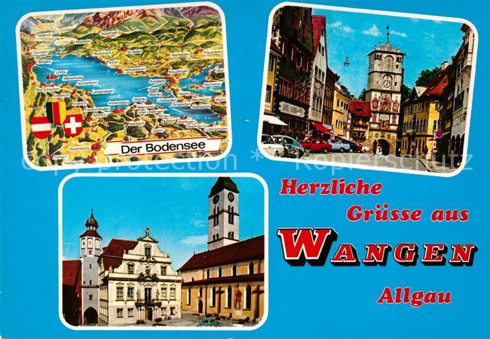 AK / Ansichtskarte Wangen Allgaeu Bodenseekarte Stadttor Rathaus Kat. Wangen im Allgaeu