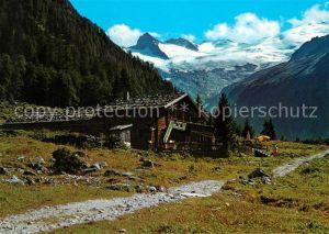AK / Ansichtskarte Habachtal Alpengasthof Enzian mit Habachkees und Schwarzkopf Kat. Oesterreich