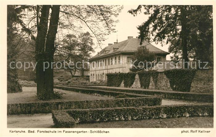 AK / Ansichtskarte Karlsruhe Baden Forstschule im Fasanengarten Schloesschen