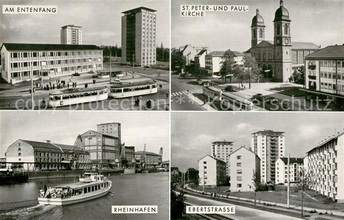 AK / Ansichtskarte Karlsruhe Baden Entenfang Strassenbahn Ebertstrasse Rheinhafen Kirche