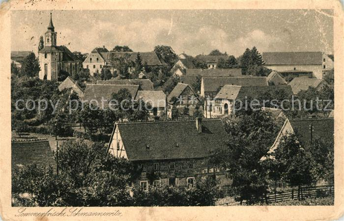 AK / Ansichtskarte Schmannewitz Ortsansicht mit Kirche Sommerfrische Kat. Dahlen Sachsen