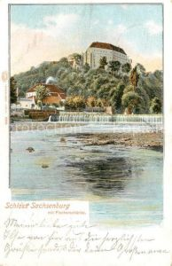 AK / Ansichtskarte Sachsenburg Frankenberg Schloss mit Fischerschaenke an der Zschopau
