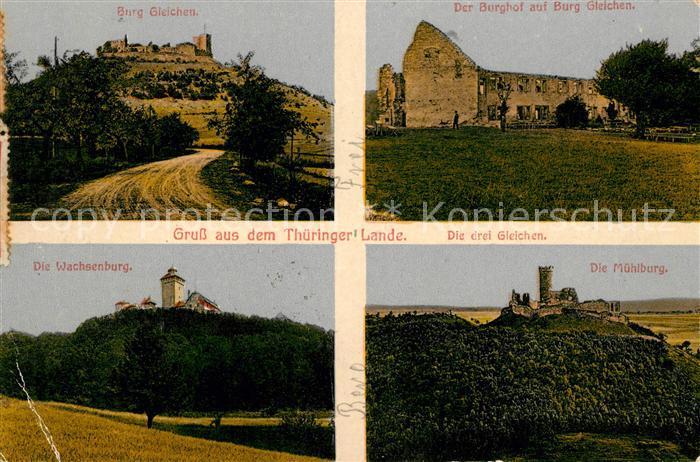 AK / Ansichtskarte Thueringen Region Burg Gleichen Burghof Wachsenburg Muehlburg  Kat. Erfurt