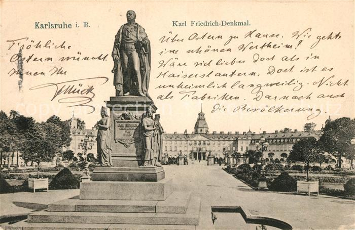 AK / Ansichtskarte Karlsruhe Baden Karl Friedrich Denkmal