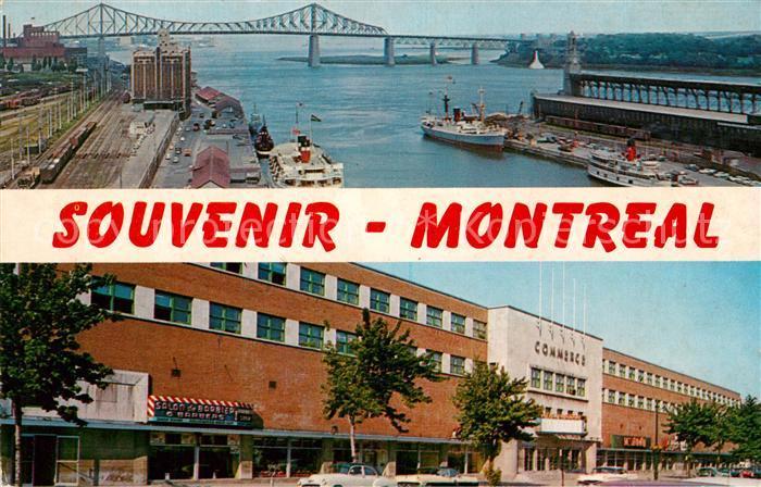 AK / Ansichtskarte Montreal Quebec Le pont Jacques Cartier et une partie du port Le Palais du Commerce Kat. Montreal
