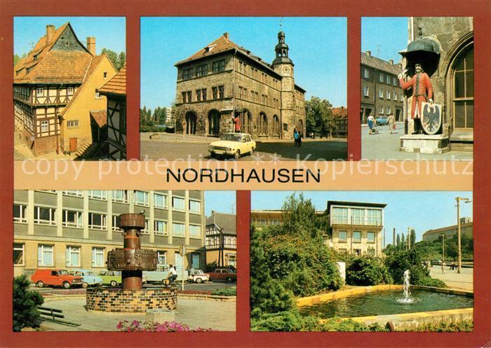 AK / Ansichtskarte Nordhausen Thueringen Fachwerkhaus Barfuessergasse Rathaus Roland Brunnen HOG Stadtterrasse Kat. Nordhausen Harz