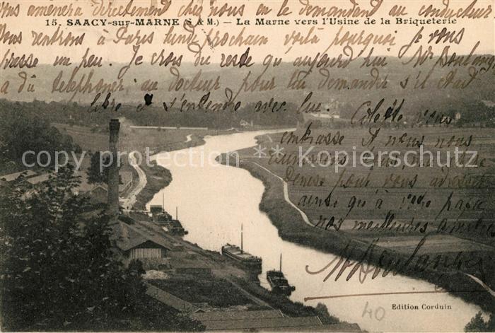 AK / Ansichtskarte Saacy sur Marne La Marne vers l Usine de la Briqueterie Kat. Saacy sur Marne