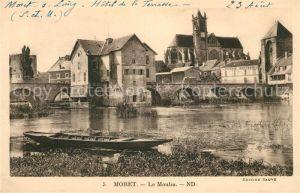 AK / Ansichtskarte Moret sur Loing Le Moulin aux bords de la riviere Pont Eglise Kat. Moret sur Loing