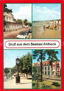 AK / Ansichtskarte Ahlbeck Ostseebad FDGB Erholungsheim Strandschloss Strand Stranduhr Ferienheim Frithjof Kat. Heringsdorf Insel Usedom