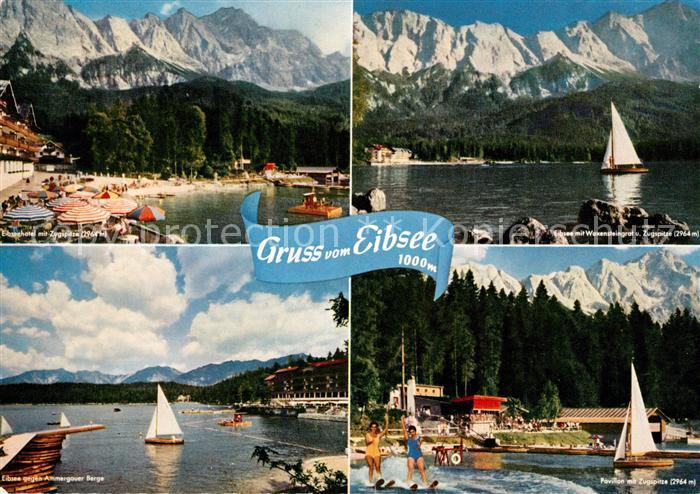 AK / Ansichtskarte Eibsee mit Zugspitze Waxensteingrat Ammergauer Berge Pavillon Kat. Grainau