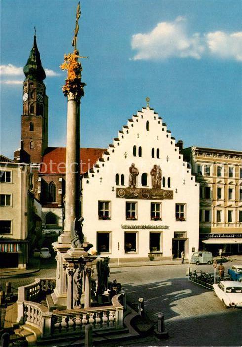 AK / Ansichtskarte Straubing Dreifaltigkeits Saeule mit Stadtsparkasse und St Jakob Kirche Kat. Straubing