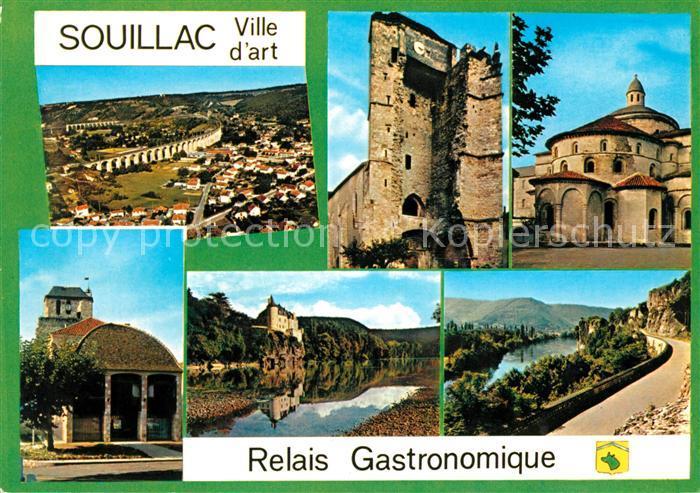 AK / Ansichtskarte Souillac Panorama Ruine Schloss Strasse Kat. Souillac