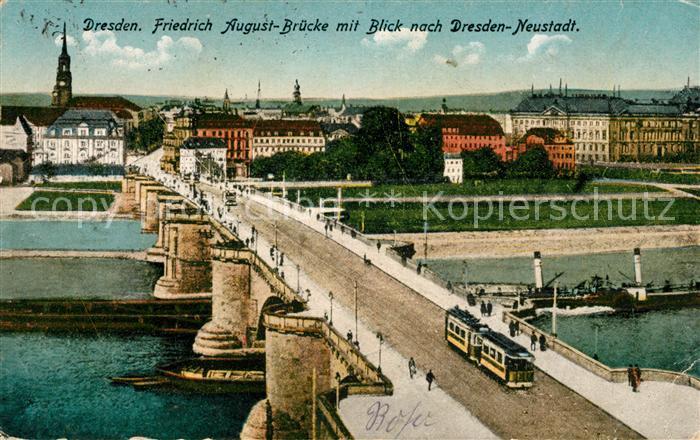 AK / Ansichtskarte Dresden Friedrich August Bruecke Dresden Neustadt Kat. Dresden Elbe