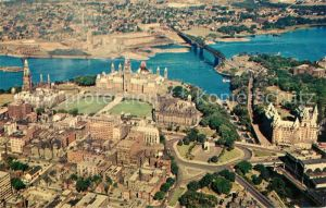 AK / Ansichtskarte Ottawa Ontario Aerial view of the Canadian Houses of Parliament Kat. Ottawa