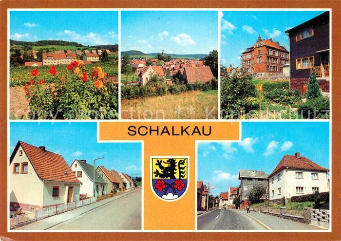 AK / Ansichtskarte Schalkau Siedlung im Grund Polytechnische Oberschule Karl Marx Siedlung Bahnhofstrasse Wappen Kat. Schalkau