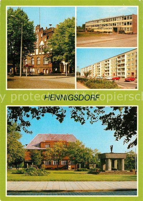 AK / Ansichtskarte Hennigsdorf Rathaus Betriebsschule Wilhelm Florin Hradeker Strasse Post Leninstrasse Kat. Hennigsdorf