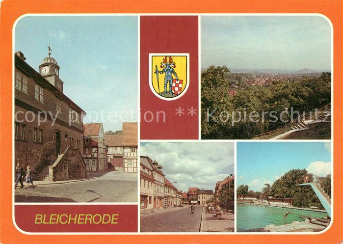 AK / Ansichtskarte Bleicherode Rathaus uebersicht Maxim Gorki Strasse Freibad Wappen Kat. Bleicherode