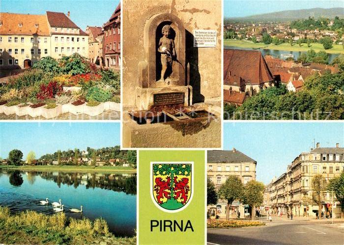 AK / Ansichtskarte Pirna Markt Erlenpeterbrunnen Sonnenstein Karl Marx Strasse OT Copitz Kat. Pirna