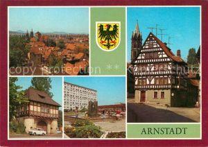 AK / Ansichtskarte Arnstadt Ilm Blick vom Neutor ehem. Papiermuehle Fachwerkhaus Fischtor Neubaugebiet Wappen Kat. Arnstadt