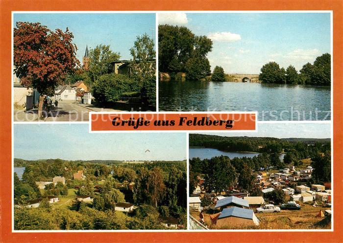 AK / Ansichtskarte Feldberg Mecklenburg Strelitzer Strasse Schmaler Luzin Erddammbruecke Ziegenberg Campingplatz Kat. Feldberger Seenlandschaft