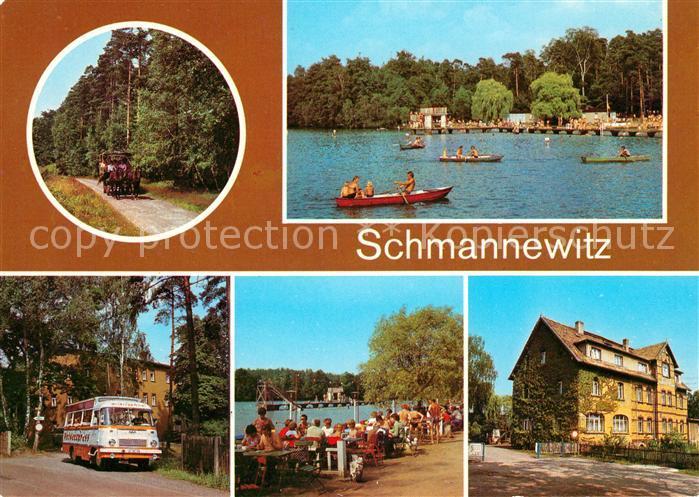 AK / Ansichtskarte Schmannewitz Kremserfahrt Waldbad Heideexpress FDGB Erholungsheim Kat. Dahlen Sachsen