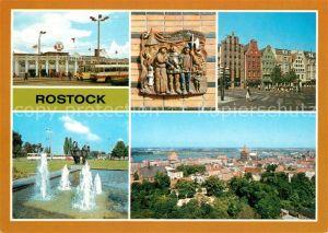 AK / Ansichtskarte Rostock Mecklenburg Vorpommern Hauptbahnhof Terrakotta Cafe Rostock Wasserspiel Hotel Warnow Stadtzentrum Kat. Rostock