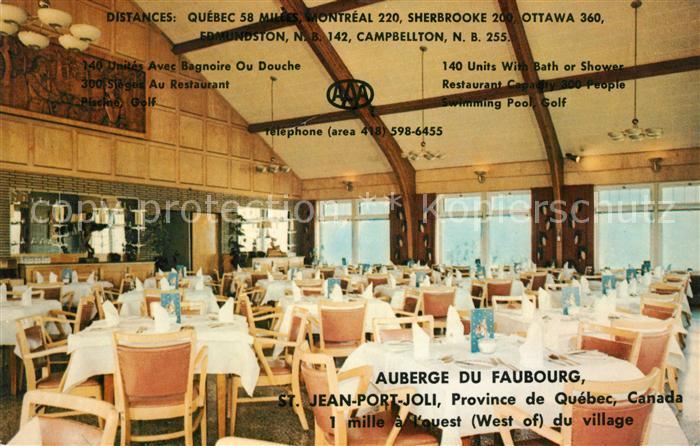 AK / Ansichtskarte Saint Jean Port Joli Auberge du Faubourg Restaurant