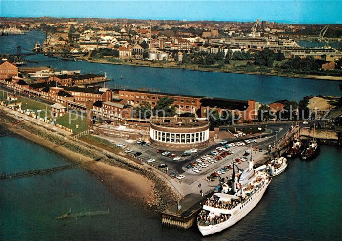 AK / Ansichtskarte Wilhelmshaven Suedstrand mit Strandhalle und MS Wilhelmshaven Fliegeraufnahme Kat. Wilhelmshaven
