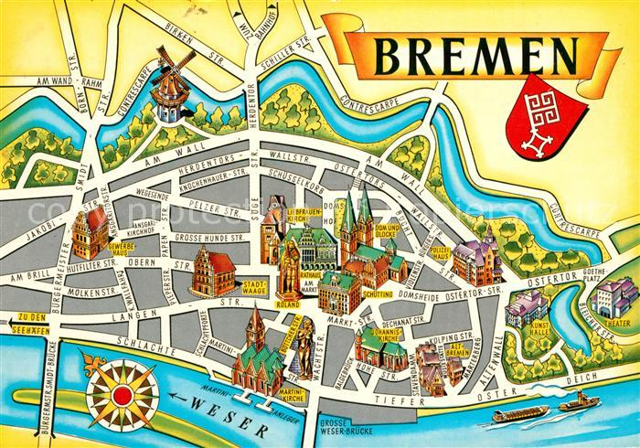 AK / Ansichtskarte Bremen Stadtkarte Kat. Bremen