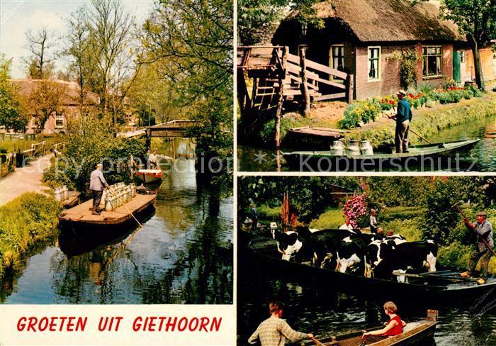 AK / Ansichtskarte Giethoorn Milchlieferung mit Boot Rindertransport im Boot Kat. Steenwijkerland