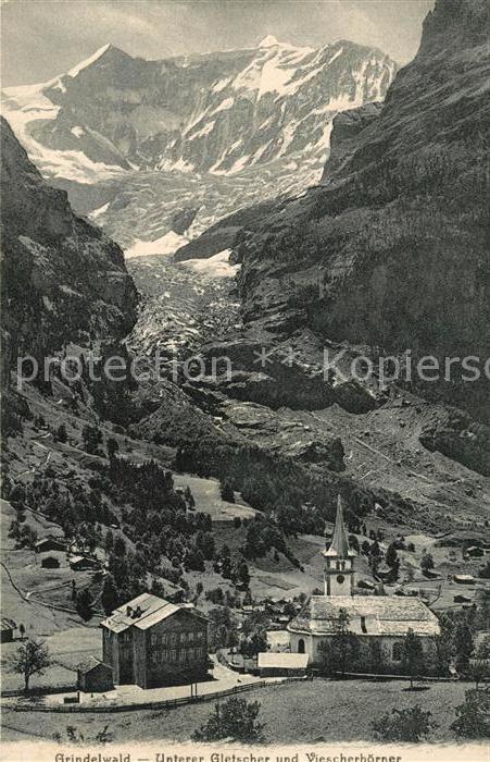 AK / Ansichtskarte Grindelwald Unterer Gletscher und Viescherhoerner Kat. Grindelwald