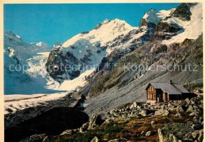 AK / Ansichtskarte Bovalhuette mit Biancograt Piz Bernina und Crast Aguezza Kat. Morteratsch