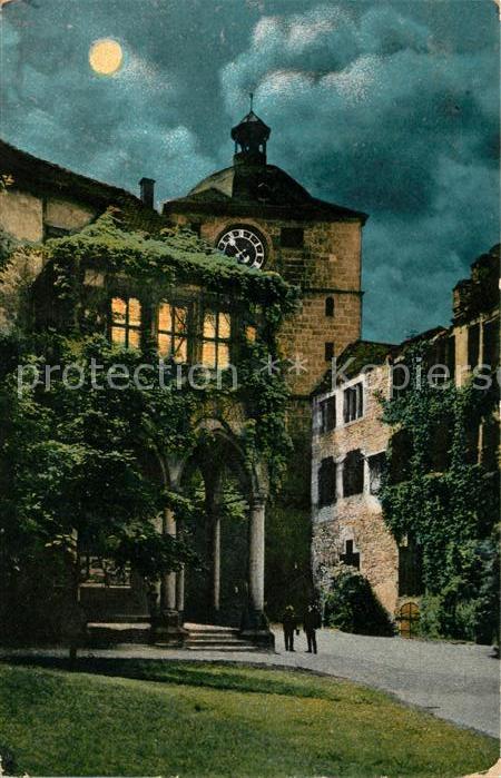 AK / Ansichtskarte Heidelberg Neckar Brunnenhalle und Wartturm bei Mondschein Kat. Heidelberg