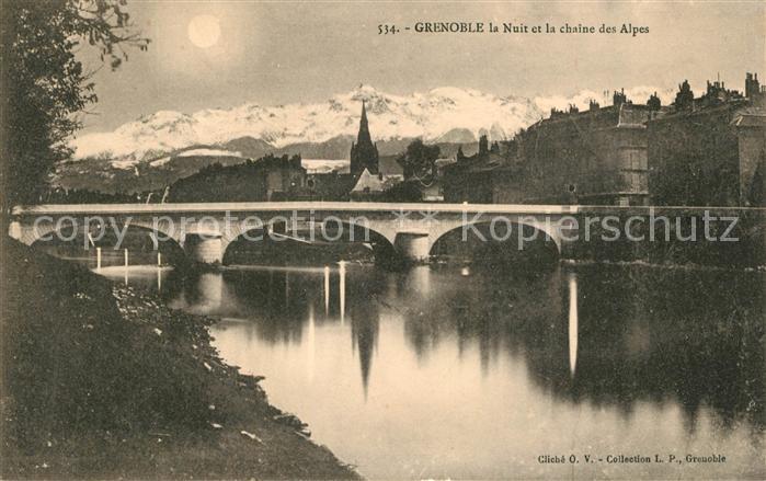 AK / Ansichtskarte Grenoble La Nuit et la chaine des Alpes Kat. Grenoble