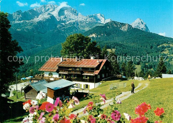 AK / Ansichtskarte Garmisch Partenkirchen Eckbauer gegen Hochblassen Alpspitze und Zugspitze Wettersteingebirge Kat. Garmisch Partenkirchen