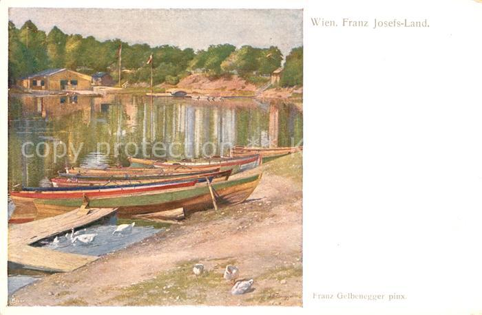 AK / Ansichtskarte Wien Franz Josefs Land Boote Schwaene Kuenstlerkarte Franz Gelbenegger Kat. Wien