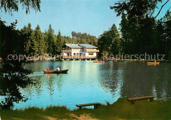 AK / Ansichtskarte Neubau Fichtelberg Rasthaus am Fichtelsee Bootfahren Kat. Fichtelberg