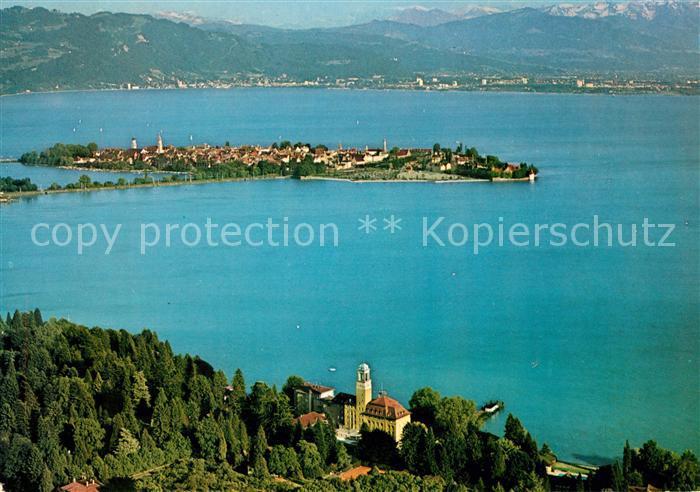 AK / Ansichtskarte Bad Schachen Lindau mit Blick auf Lindau Bregenz Pfaender Vorarlberger Hochgebirge Fliegeraufnahme Kat. Lindau (Bodensee)