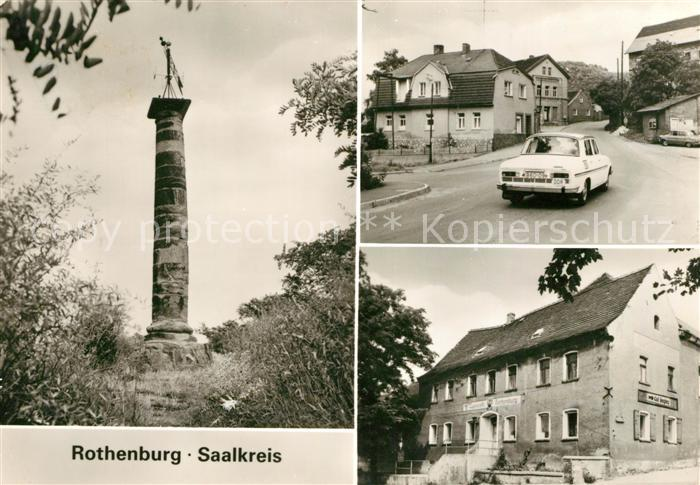 AK / Ansichtskarte Rothenburg Koennern Saeule Strassenpartie Tagescafe Rothenburg Kat. Rothenburg Koennern