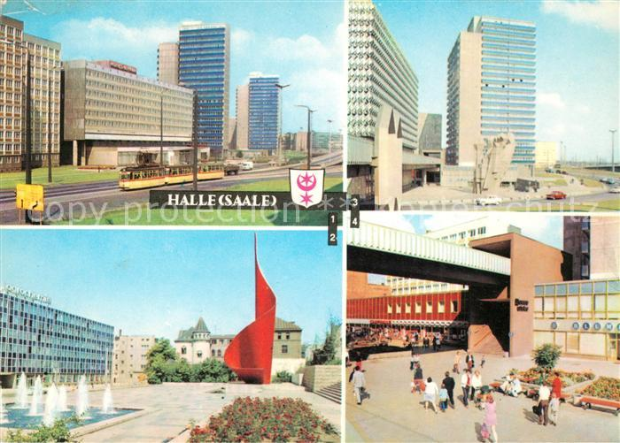 AK / Ansichtskarte Halle Saale Interhotel Stadt Halle Fahnenmonument Hansering Am Ernst Thaelmann Platz Kat. Halle