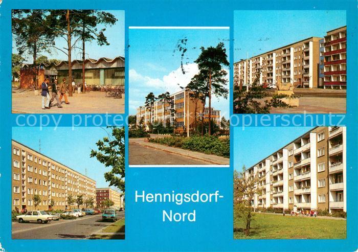 AK / Ansichtskarte Hennigsdorf Kaufhalle Schule Hradeker Strasse Rigaer Strasse Strasse der Freundschaft Kat. Hennigsdorf