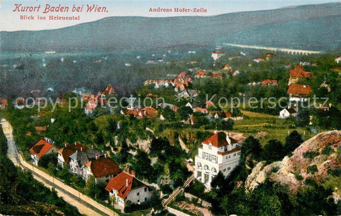AK / Ansichtskarte Baden Wien mit Heleuental Andreas Hofer Zeile Kat. Baden