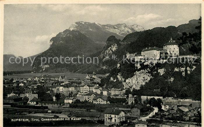 AK / Ansichtskarte Kufstein Tirol Gesamt mit Kaiser Kat. Kufstein