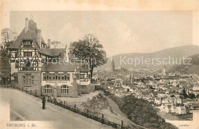 AK / Ansichtskarte Freiburg Breisgau Zum Bruderhaus Loretto Blick auf die Stadt Kat. Freiburg im Breisgau